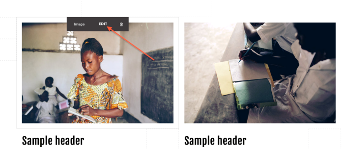 Editing other images in Squarespace