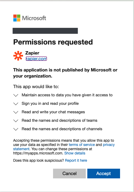 A screenshot of how permission requests look like in Microsoft Teams.