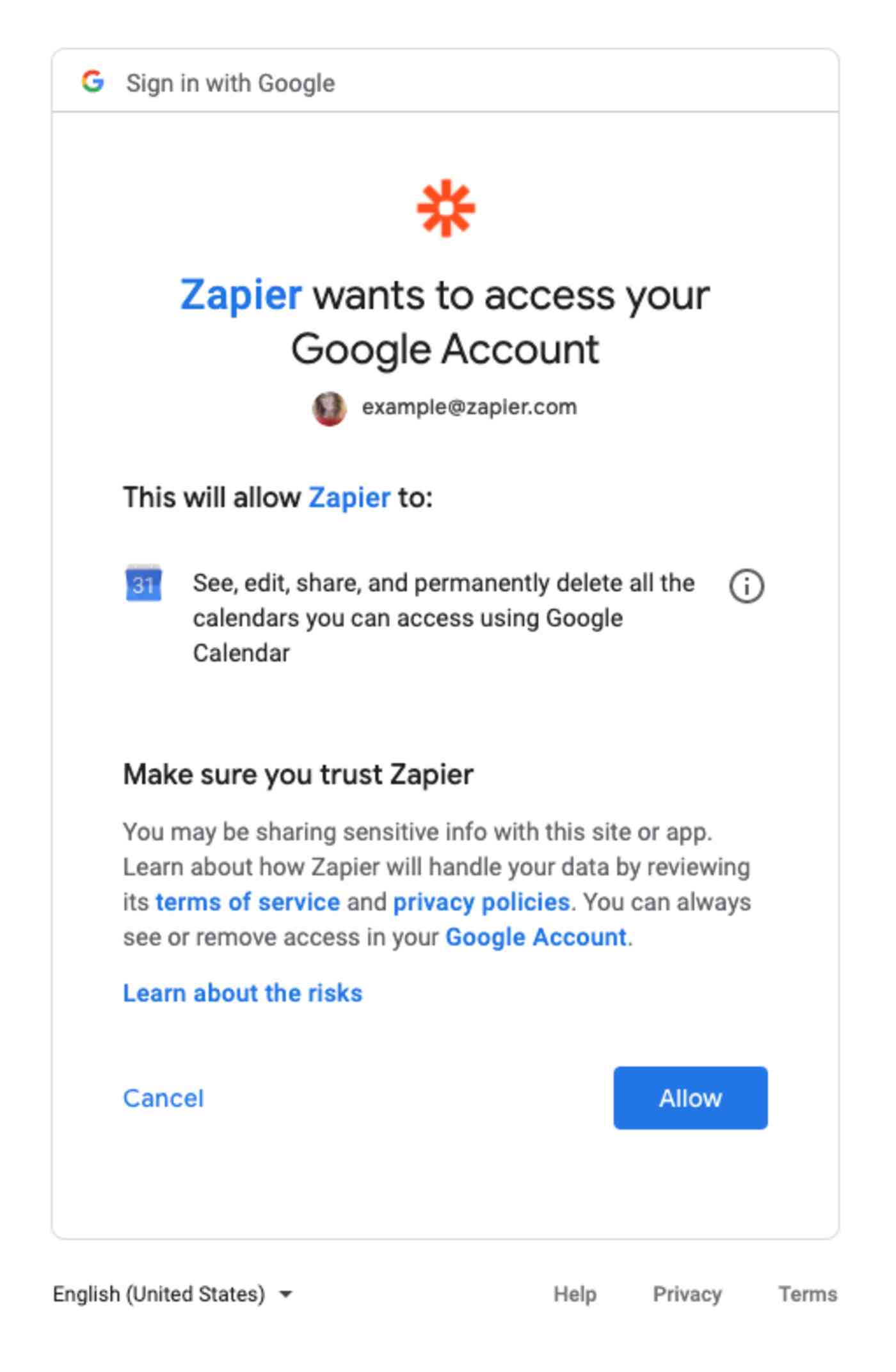 """Reads: """"Zapier wants to access your Google Account"""""""