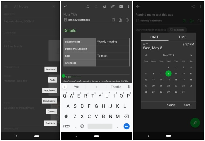 Evernote screenshots on Android