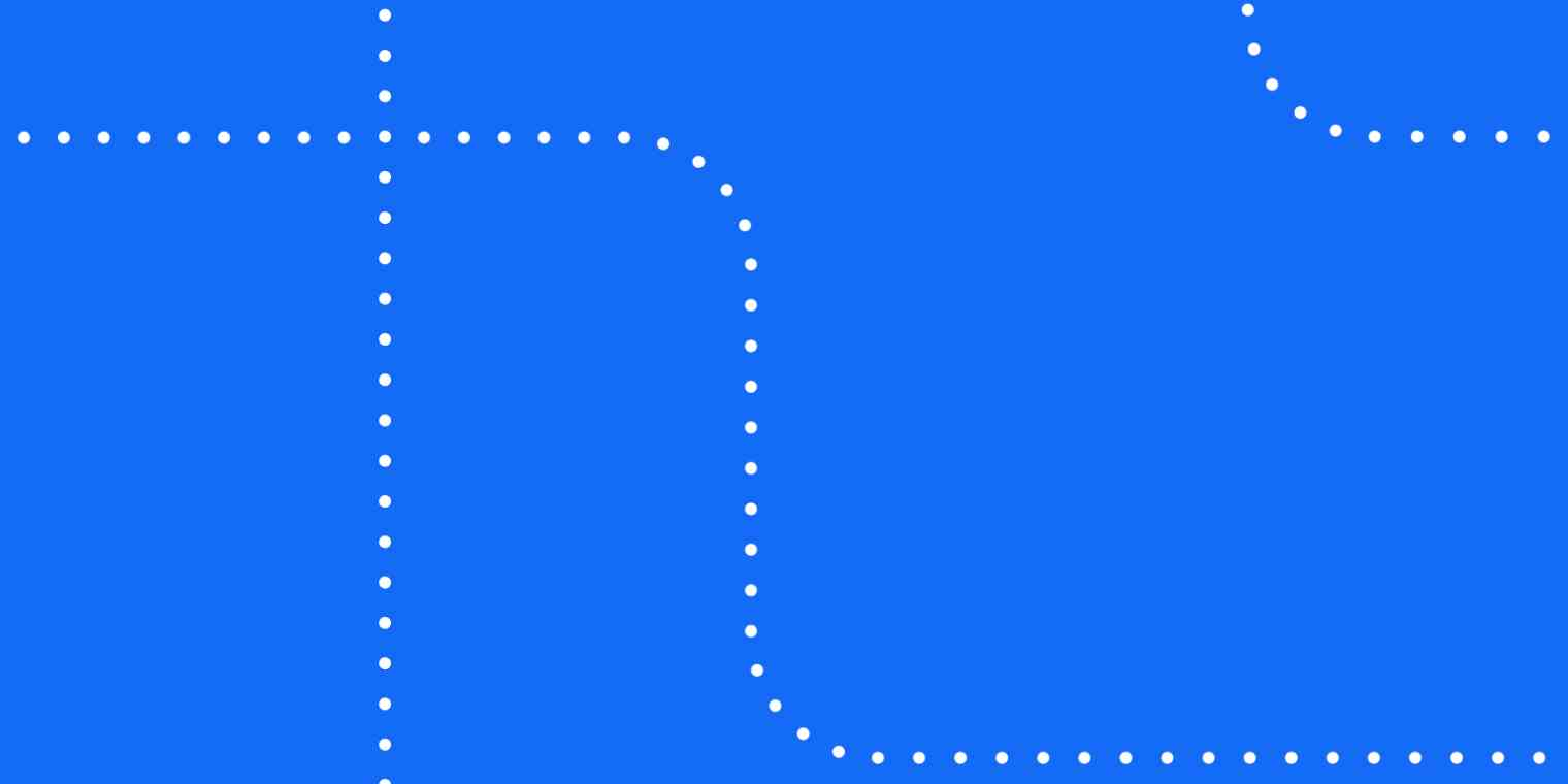 A blue rectangle with white dotted lines running through it.