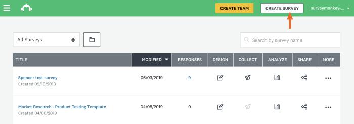 Create Survey button in SurveyMonkey