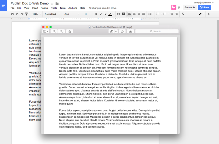 Download a Document as a PDF, Word Doc and More