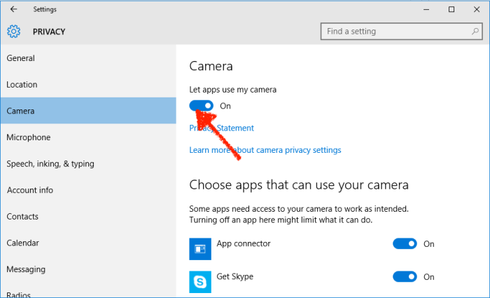 Windows Camera privacy settings
