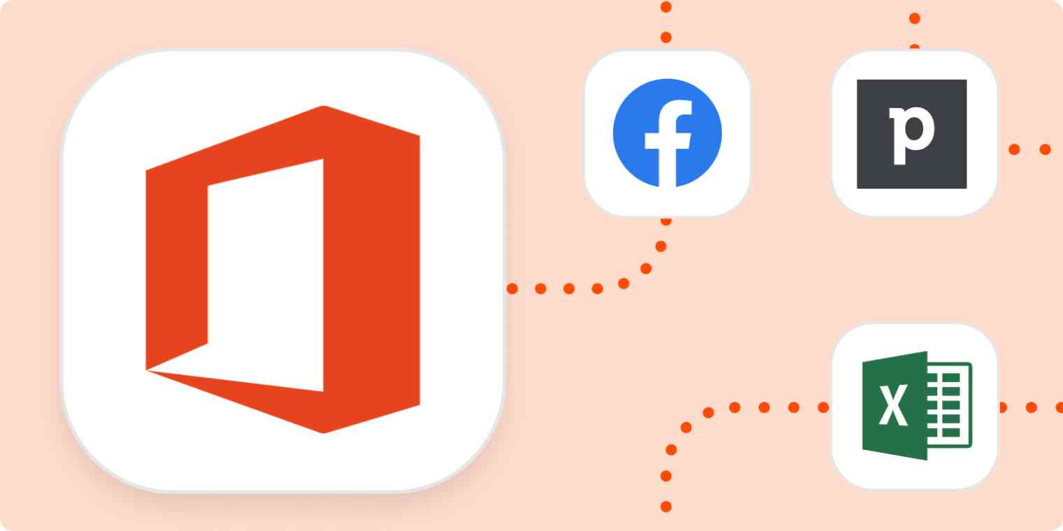 The logos for Microsoft Office 365, Facebook, Pipedrive, and Excel.