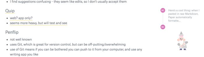 Dropbox Paper comments