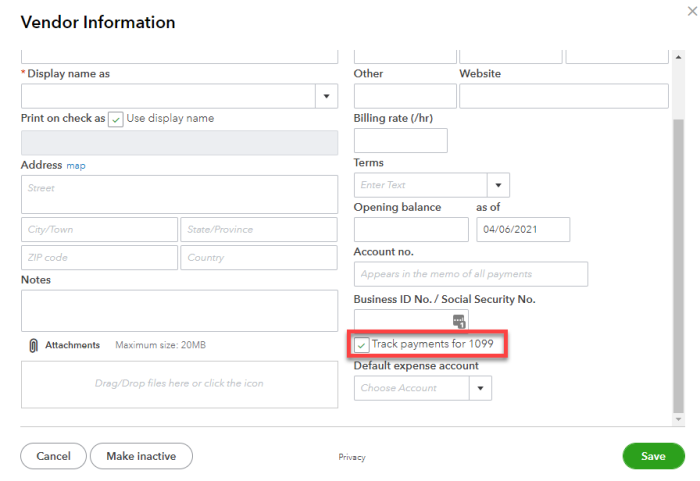 """Vendor information set-up with checkbox for """"Track payments for 1099"""""""