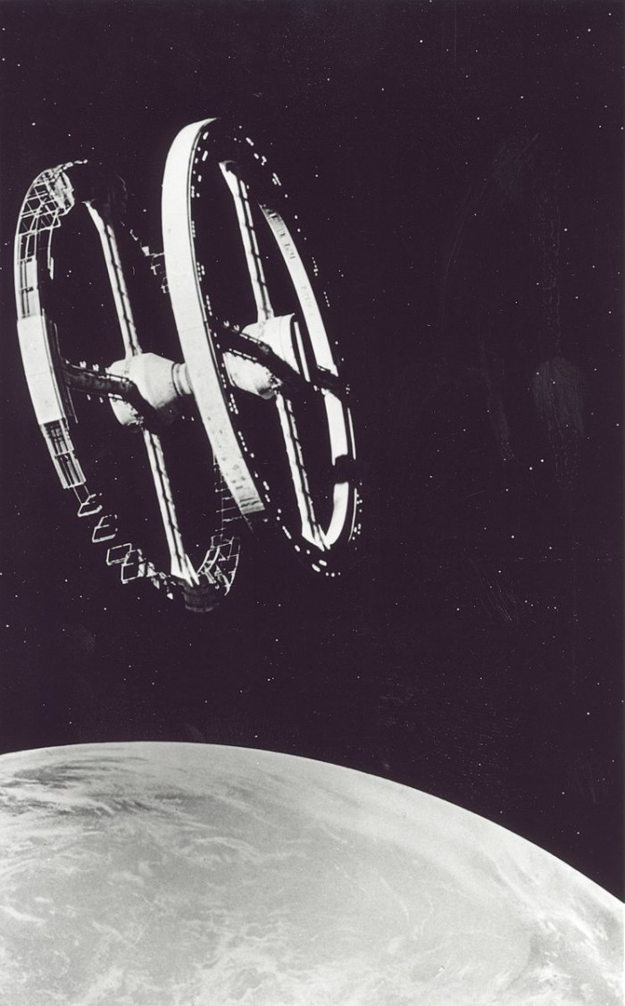The classic space station image from the movie 2001: A Space Odyssey