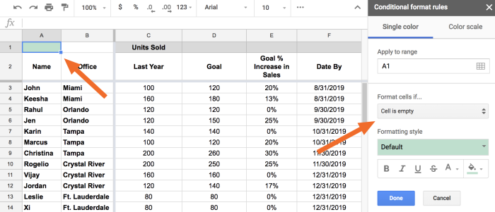 Cell is empty conditional formatting