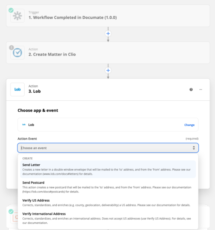 A screenshot of the Zapier editor showing a Documate step, a Clio step, and the detail of a Lob step showing the ability to select an action to send a letter, send a postcard, or verify US or international addresses.