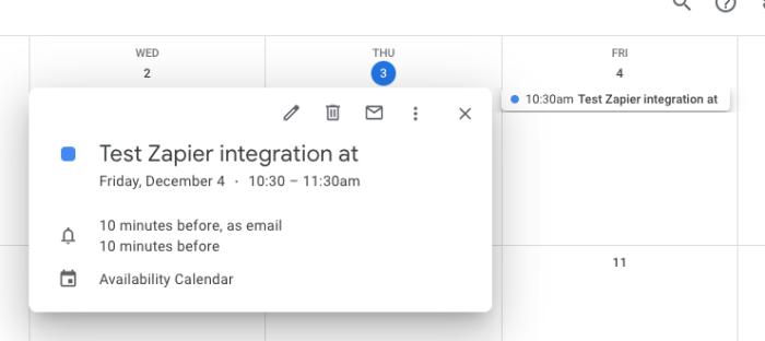 """A Google Calendar event that reads """"Test Zapier integration"""""""