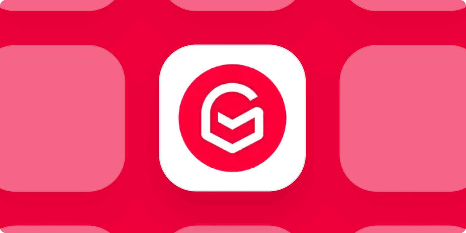 Gmelius app logo on a pink background