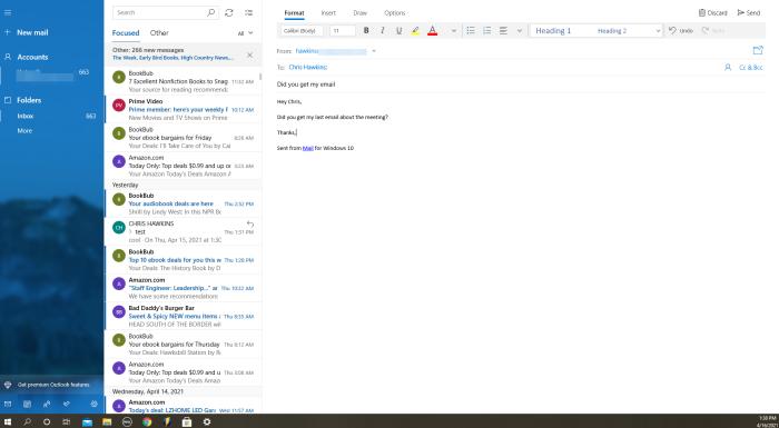 Windows Mail interface