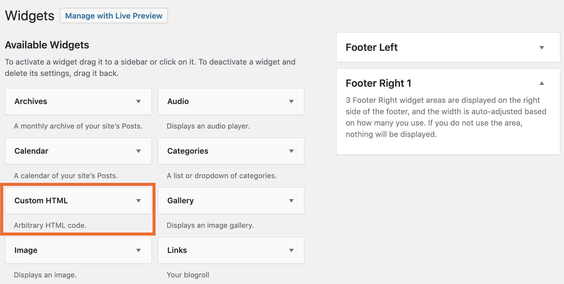 WordPress Custom HTML widget