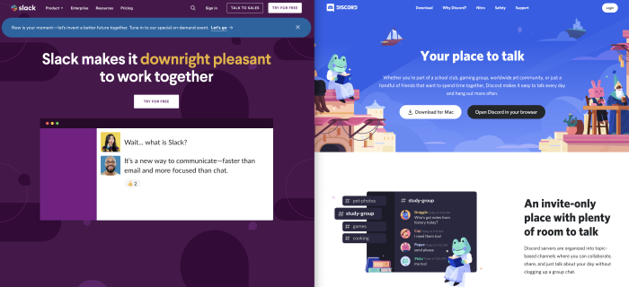 The Slack and Discord homepages