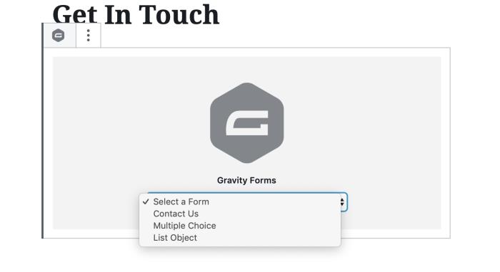 Opciones de incrustación de Gravity Forms