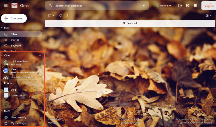 The Gmail sidebar with Meet and Chat.