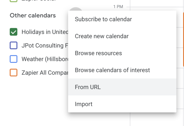 Adding iCal links from a URL in Google Calendar