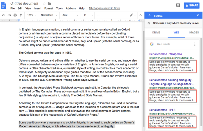 check for plagiarism with Google Docs explore