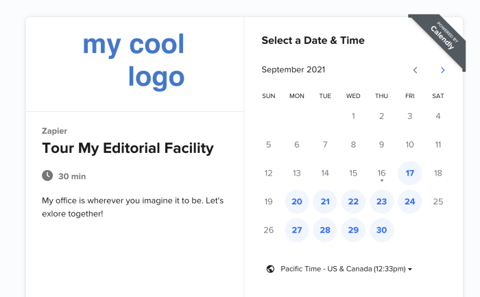 Showing the logo on the booking page in Calendly