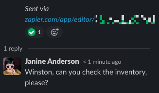 A Zapier coworker responding to the Slack message in a thread.