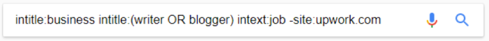 Google search for intitle:business intitle:(writer OR blogger) intext:job -site:upwork.com