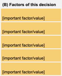 Factores de la herramienta de decisión de Hojas de cálculo de Google