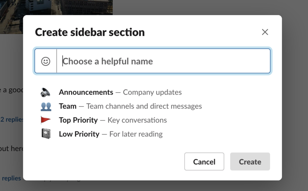 Name your sidebar section in Slack