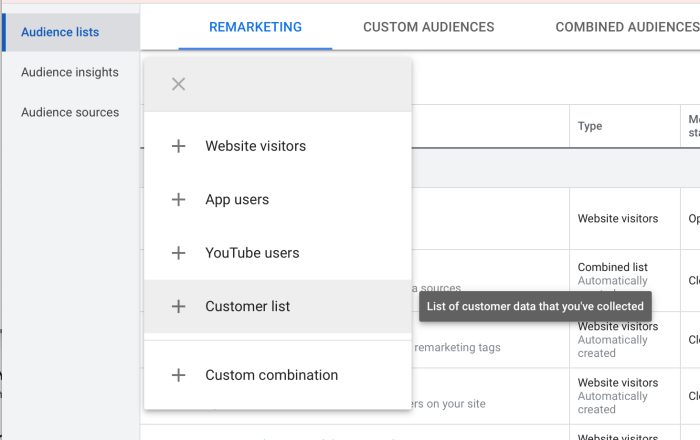"""A screenshot of the menu system in Google Ads from the audience tab, showing """"audience lists"""" and then """"customer list"""" highlighted."""