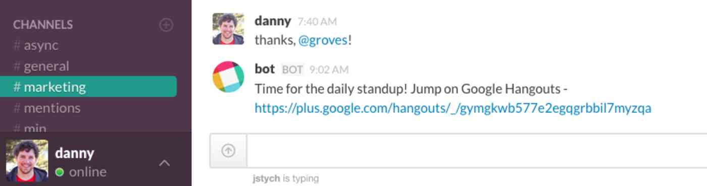 Daily Standup reminder in Slack