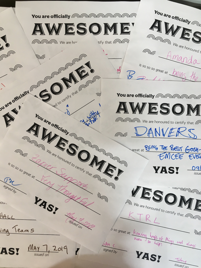 An image of the certificates of awesome