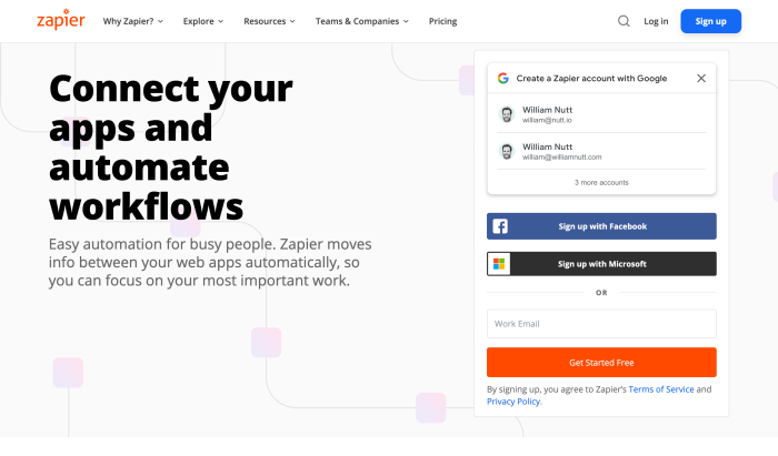 The Zapier sign-in page.