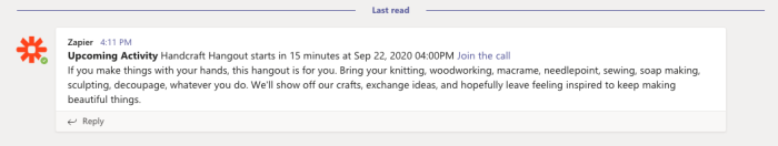 A screenshot of the message our Zap created in Microsoft Teams.