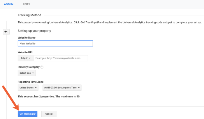 get tracking ID for new Google Analytics property