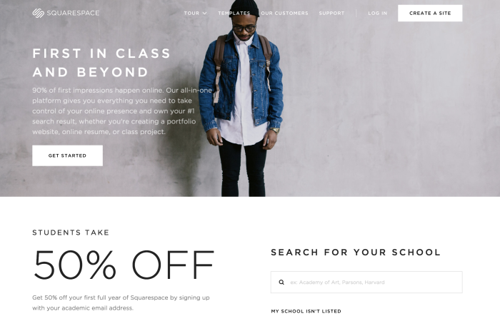 Squarespace student discount landing page