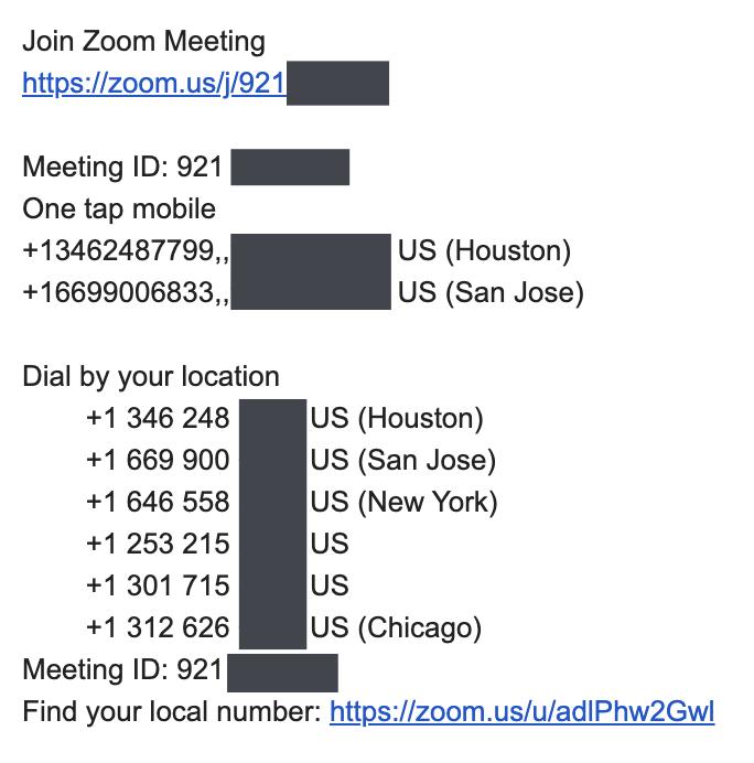 Agrandar los números de teléfono en el recordatorio por correo electrónico