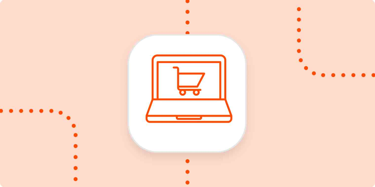An eCommerce icon showing a laptop with a shopping cart on the screen.
