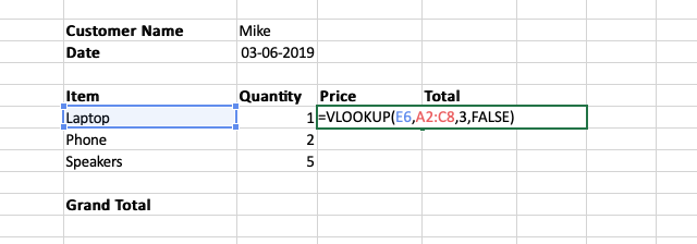 Example of a completed VLOOKUP cell