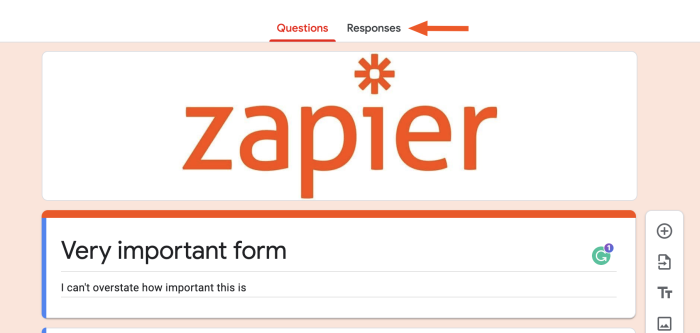 Responses tab in Google Forms