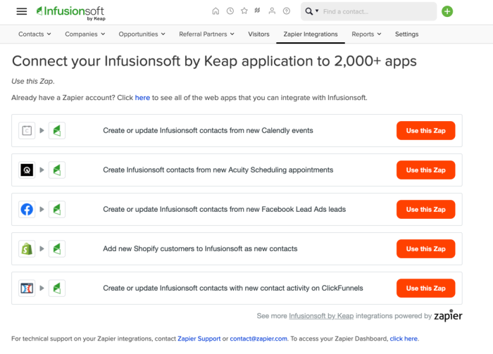 Five most popular Zap templates in Infusionsoft integrations panel