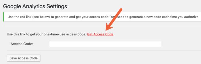 get Google Analytics access code