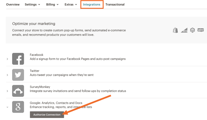 Click Authorize Connection under Google Analytics in the Integrations tab