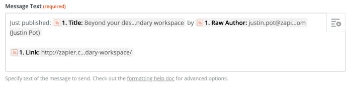 Multiple Fields in Zapier text box