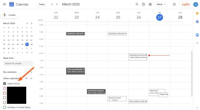 Adding a calendar to the Zapier social calendar