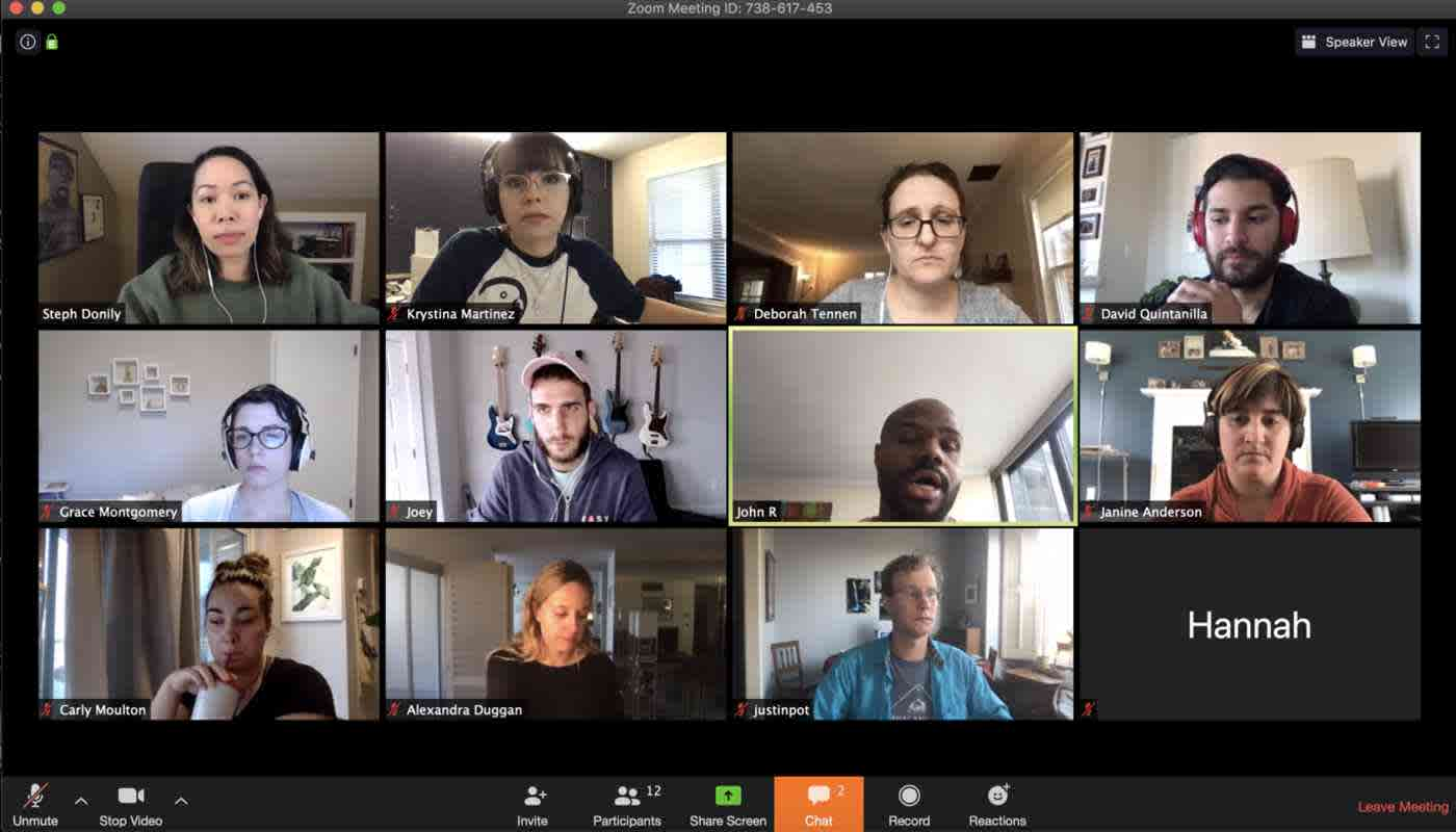 A view of a Zoom video call with the screens of 12 participants arranged on a grid