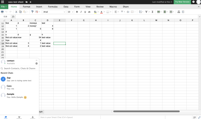 Zoho Sheet screenshot