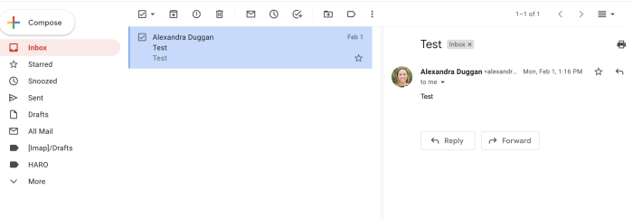 Preview pane split in Gmail