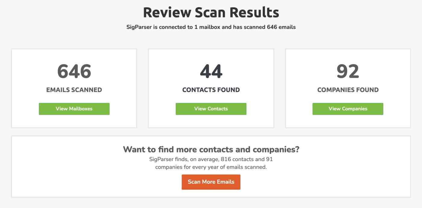 Screenshot of SigParser scan results