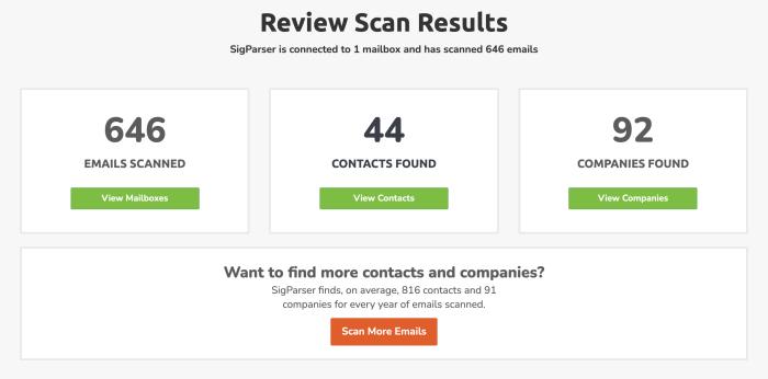 Captura de pantalla de los resultados del escaneo SigParser