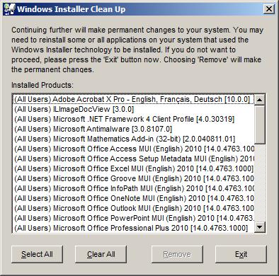 Windows Installer Clean Up